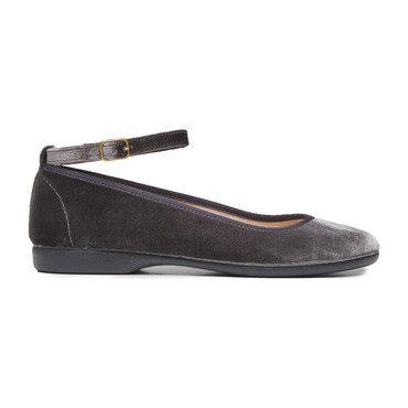 Ankle Strap Ballet Flats, Grey Velvet