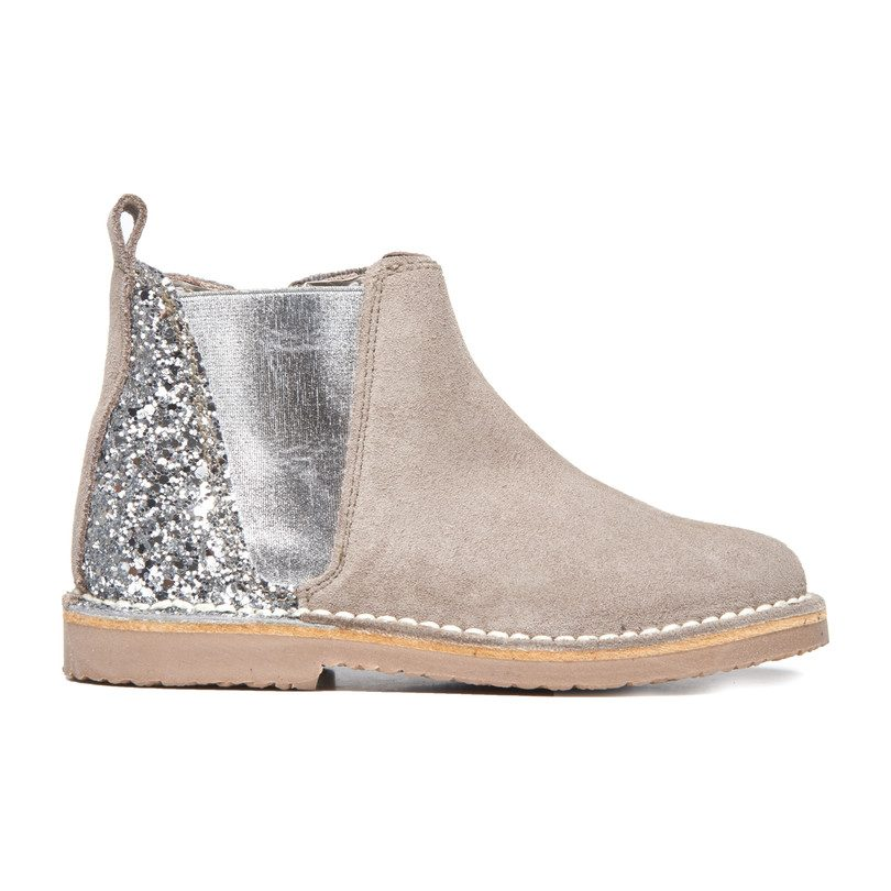 Chelsea Boots, Taupe Suede and Silver Sparkle