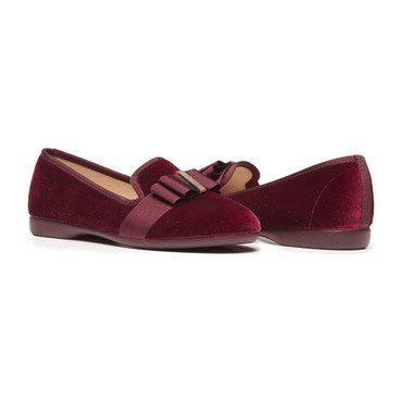 Grosgrain Bow Loafers, Burgundy Velvet