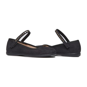 Mary Janes with Studs, Black Suede