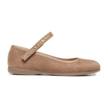 Mary Janes with Studs, Camel Suede