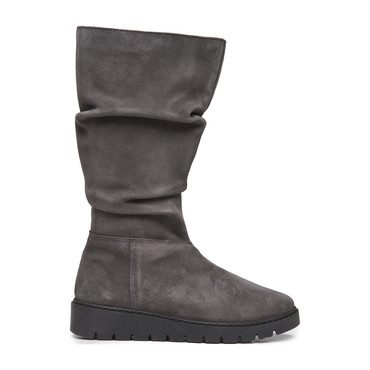 Ruched Boots, Grey Suede