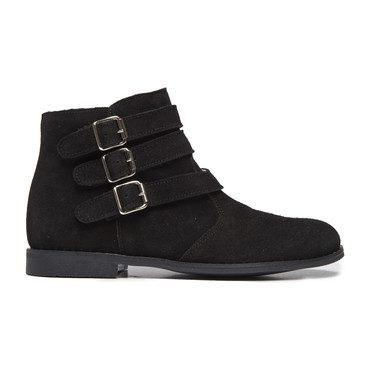 Tri-Buckle Ankle Boots, Black Suede
