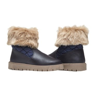 Winter Chill Boots with Faux-Fur, Navy