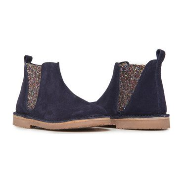 Chelsea Boots, Navy Suede and Multi Sparkle