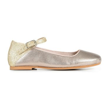 Mary Janes, Metallic Gold with Glitter