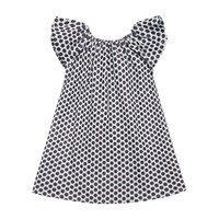 Leela Dress, Indigo & Maroon Polka Dot