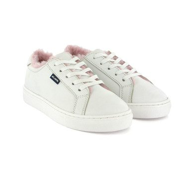 Sneaker with Pink Fur Lining, White Leather