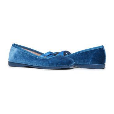 Criss-Cross Ballet Flats, Azure Blue Velvet