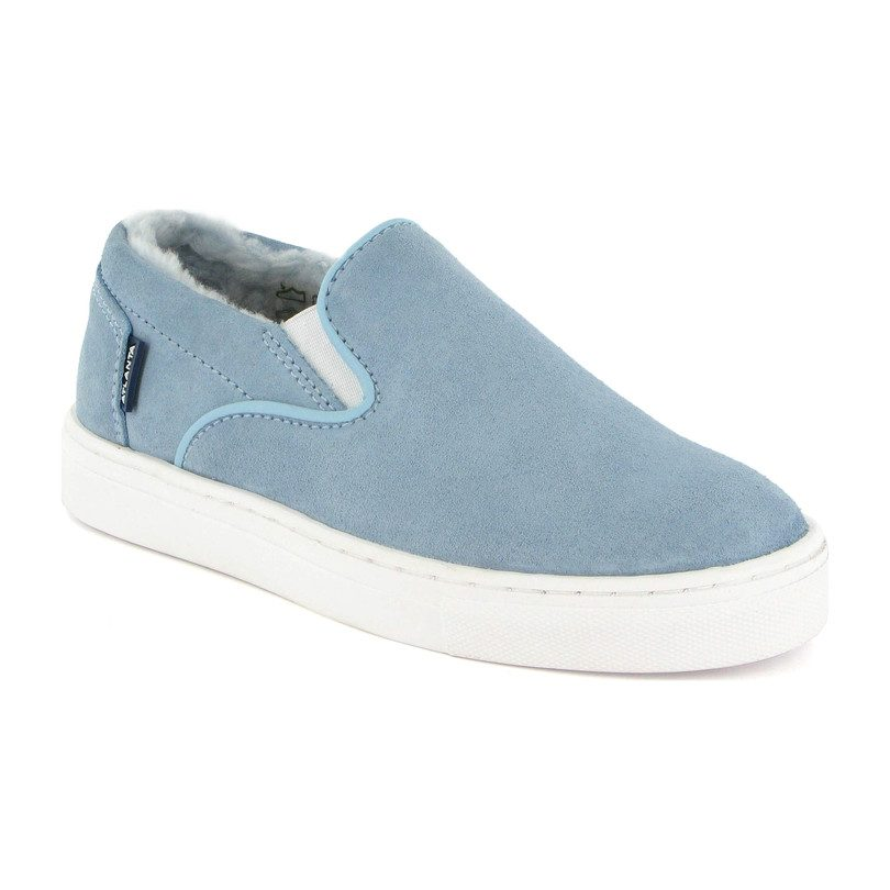 Slip-on with Fur Lining, Ski Blue Suede