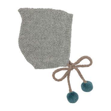 Tassel Bonnet, Grey/Oat/Teal