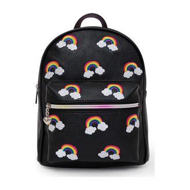 Embroidered Rainbow Mini Backpack, Black