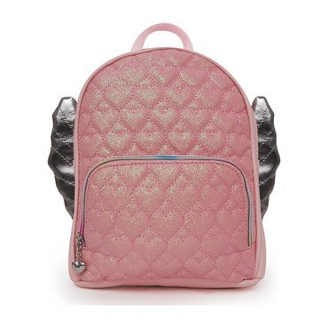 Glitter Heart Quilt Winged Mini Backpack, Pink