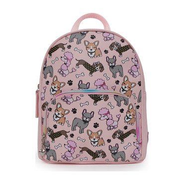Mixed Puppies Printed Mini Backpack, Pink