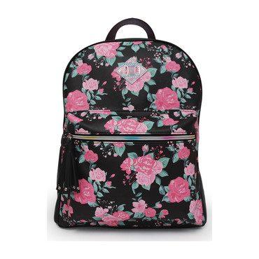 Rose Print Large Backpack, Black