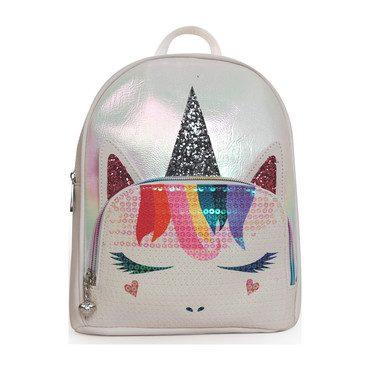 Sequin Face Metallic Unicorn Mini Backpack, White