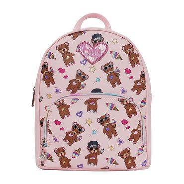 Stuffed Bear Print Mini Backpack, Pink