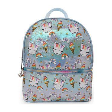 Sweets Unicorn Print Metallic Mini Backpack, Blue