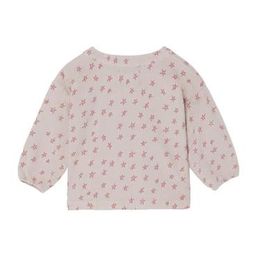Baby Blouse With Buttons And All-Over Star Print, Pink