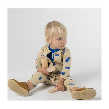 Baby Jumpsuit With All-Over Blue Shapes Print, Cream
