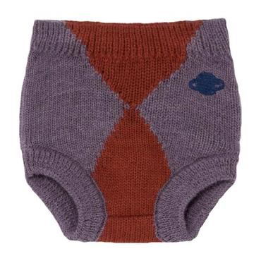Baby Knitted Culotte Shorts Jacquard, Purple And Red