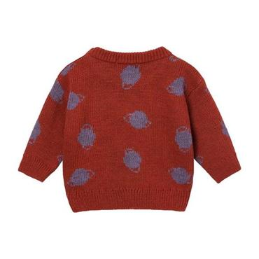 Baby Sweater With Jacquard Purple Saturn Pattern, Red