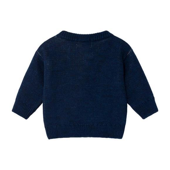 Baby Sweater With Jacquard Bobo Pattern, Blue