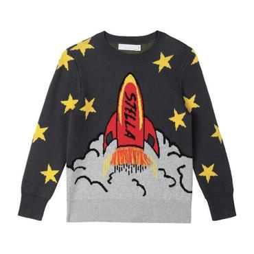 Child Cotton-Wool Sweater With Knitted Rocket And Stars, Grey