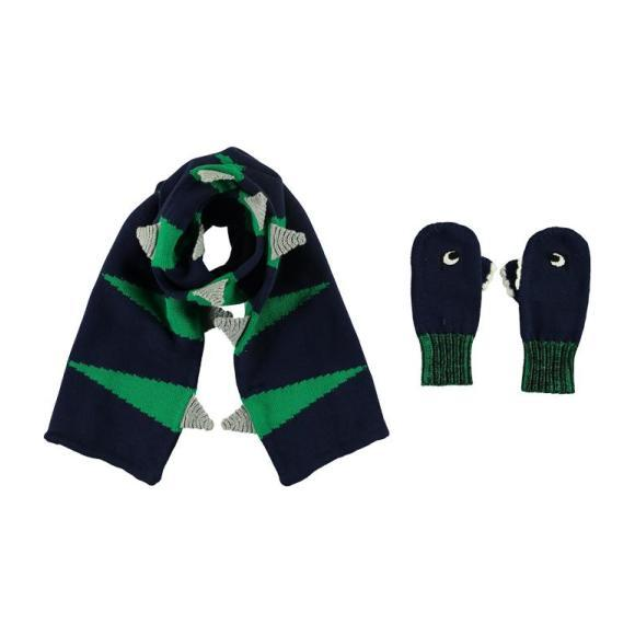 Child Dragon Scarf And Gloves Set Navy, Blue