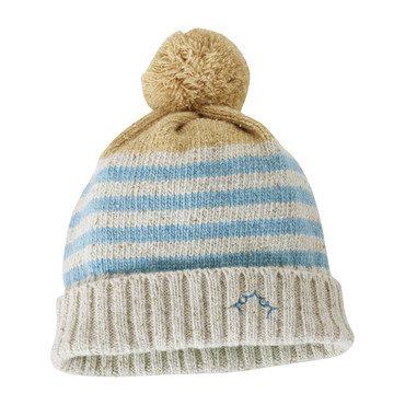 Striped Hat with Pom, Blue