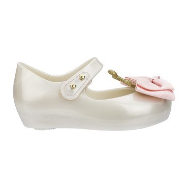 Mini Ultragirl Princess Bow Flat, White Pink