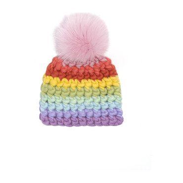Beanie Stripe Hat, Pastel Rainbow