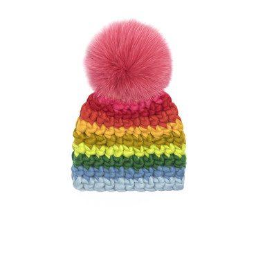 Beanie Stripe Hat, Rainbow
