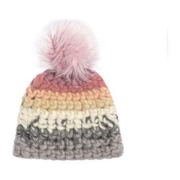 Beanie Stripe Hat, Dusty Rose Faux Pom