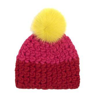 Color Block Hat, Coral & Tomato