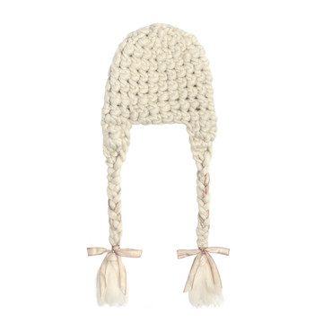 Nolita Braided Ribbon Hat, White & Pink
