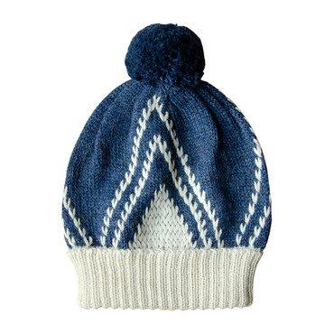 Knitted Alpaca Beanie, Moonlight Blue