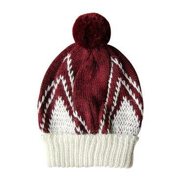Knitted Alpaca Beanie, Garnet Red