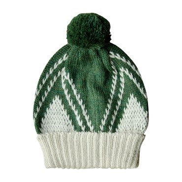 Knitted Alpaca Beanie, Moss Green