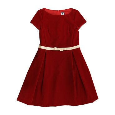 Aylah Velvet Box Pleat Dress, Red