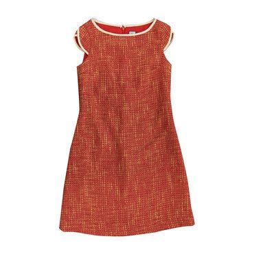 Sabrina Brocade Cap Sleeve Shift Dress, Red and Gold