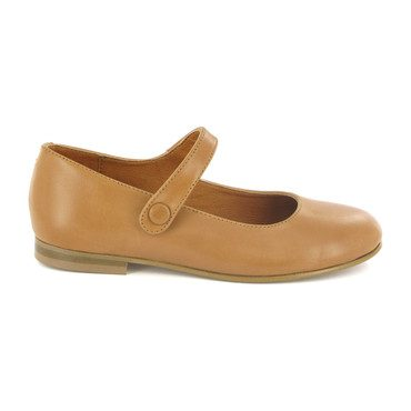 Leather Mary Jane Ballerinas, Beige