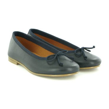 Smooth Leather Ballerinas, Navy