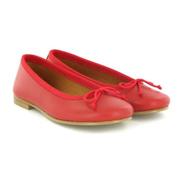Smooth Leather Ballerinas, Red