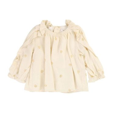 Golden Ruffle Blouse, Cream