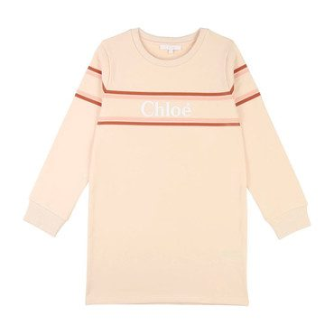 Stripe Logo Sweatshirt Dress, Pale Pink