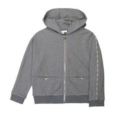 Zip up Hooded Jacket with Logo Sleeve, Grey