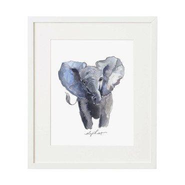 Baby Elephant Print, Framed